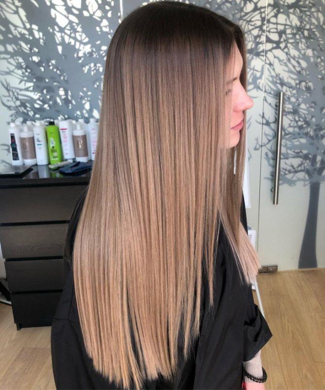 Растяжка цвета на длинные волосы