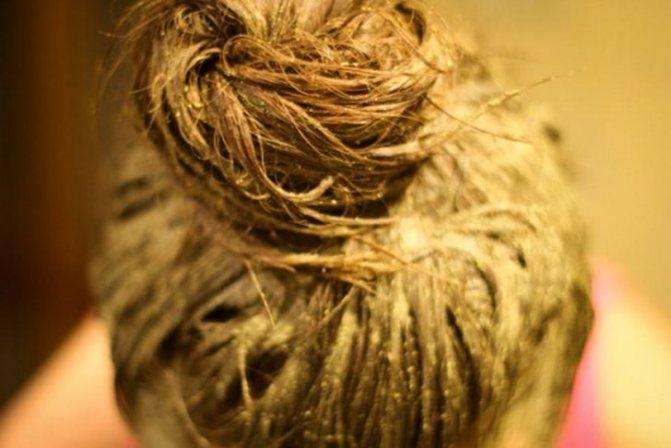 разведенный горчичный порошок на волосах
