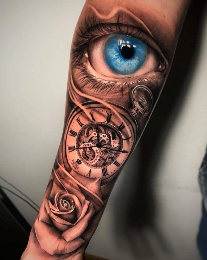 Реалистичный Голубой Глаз Часы и Роза