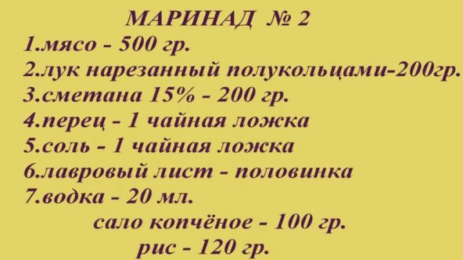 рецепт маринада