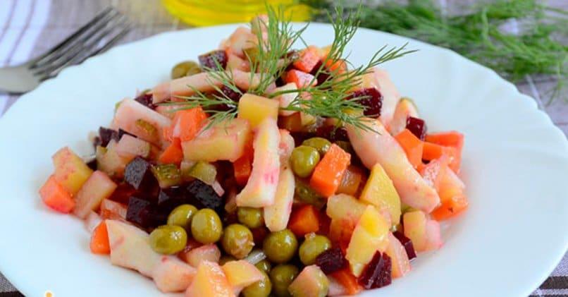 Рецепт винегрета с кальмарами и морской капустой