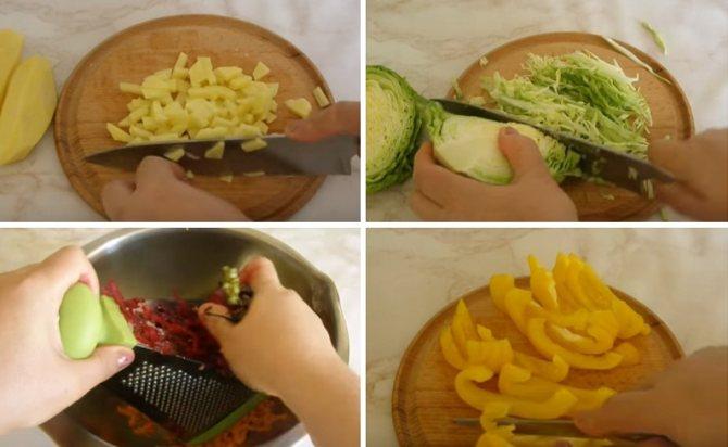 режем и шинкуем овощи для борща со свининой
