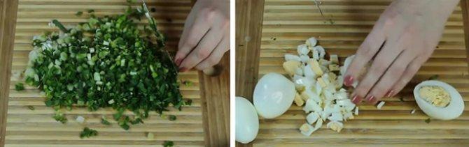Режем зеленый лук и яйца