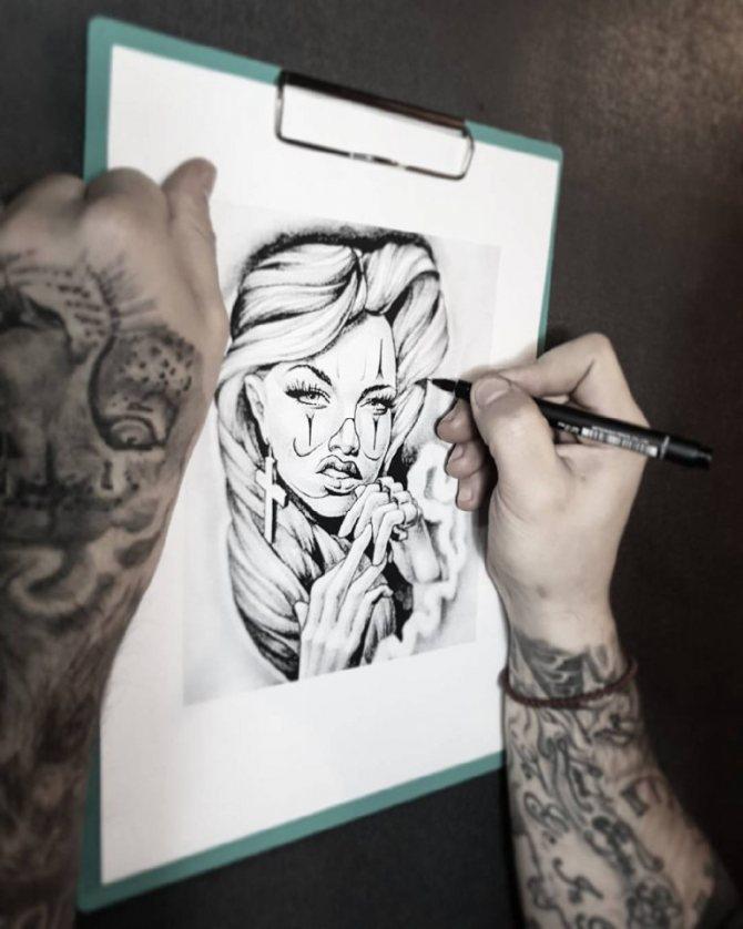 рисунки на руке ручкой