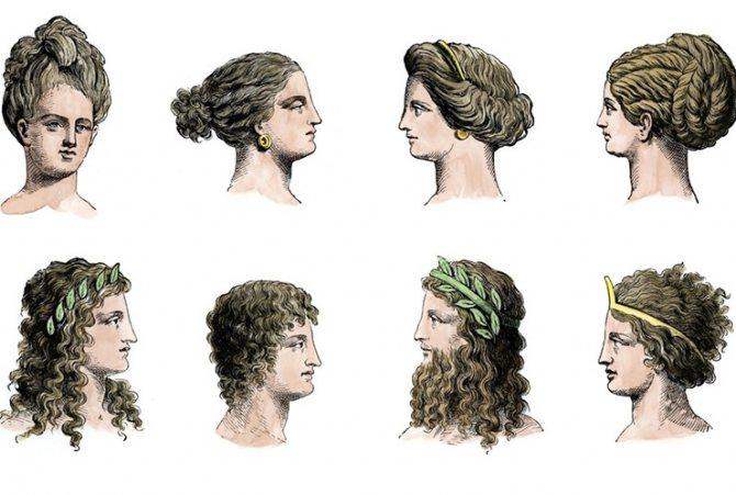 рисунки причесок времен Древней Греции