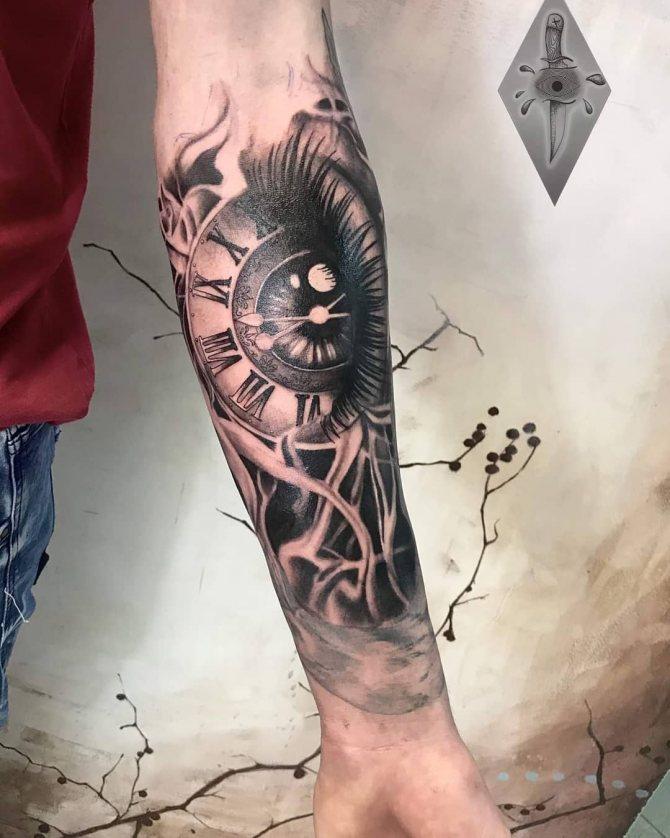 Рисунок Глаз и Часы на Предплечье