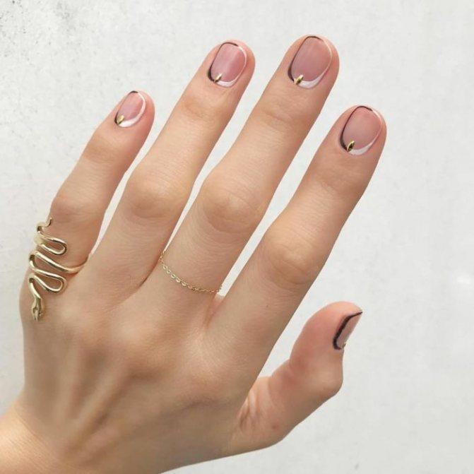 Рисунок по контуру ногтя