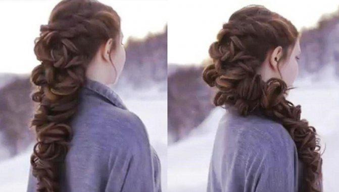 Романтическая объемная коса из локонов