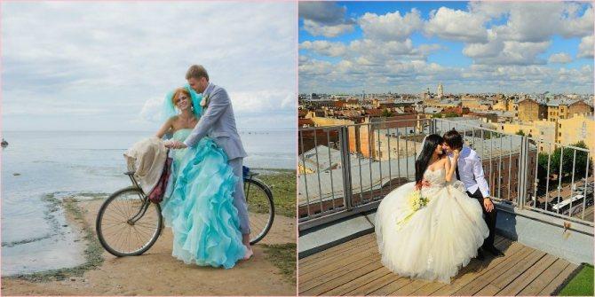 Романтичный свадебный день на крыше