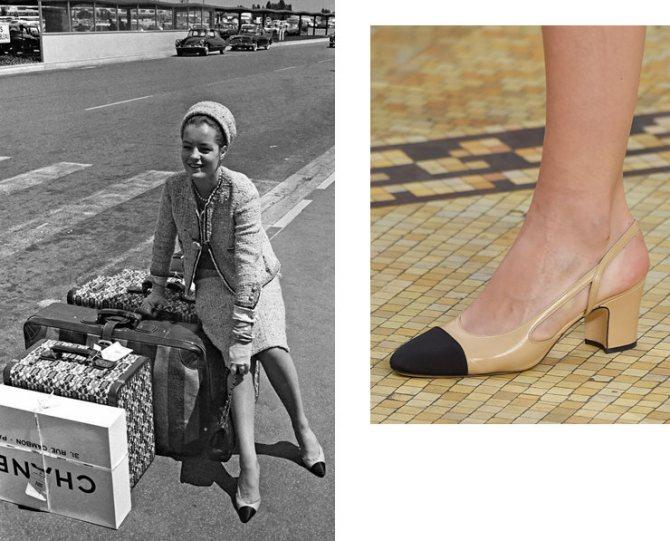 Роми Шнайдер в туфлях Chanel, 1974 год; деталь показа Chanel осень-зима 2015