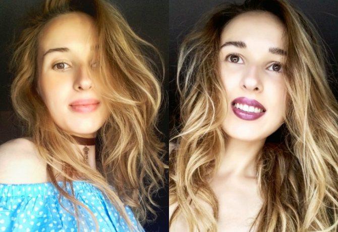 Розовые волосы до и после окрашивания