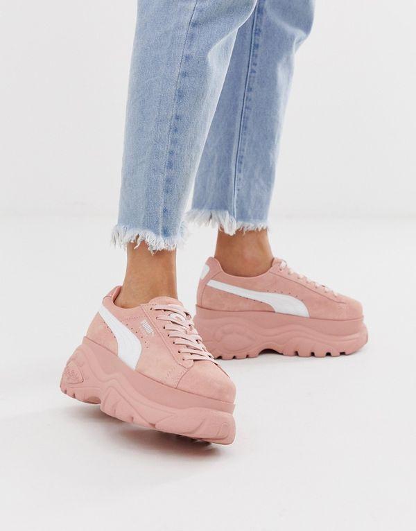 Розовые замшевые кроссовки на платформе Puma