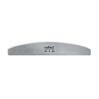 ruNail, Пилка для искусственных ногтей серая, полукруглая, 150/180