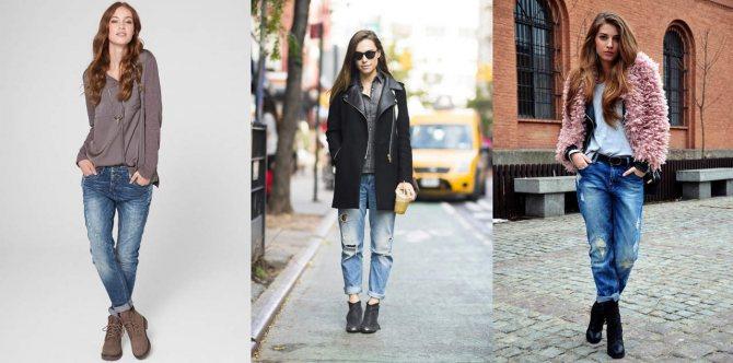 Рваные джинсы и ботинки