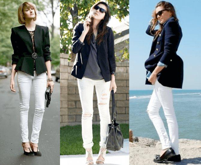 С чем можно носить белые женские джинсы - фото модных образов