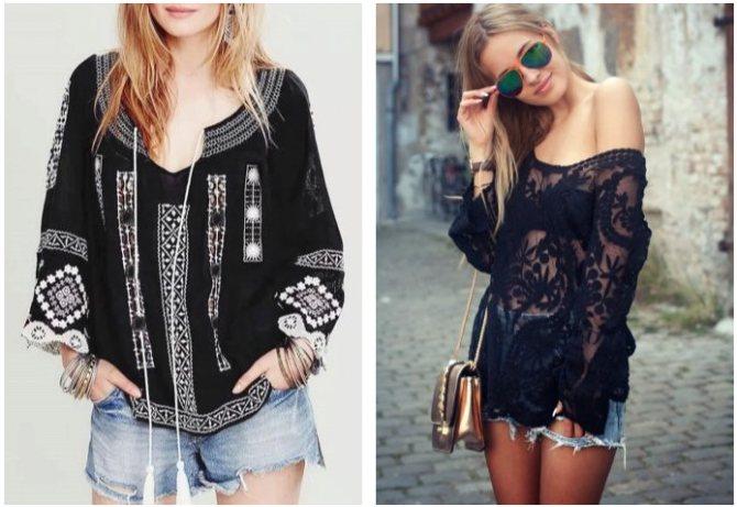 С чем носить чёрную блузку летом?
