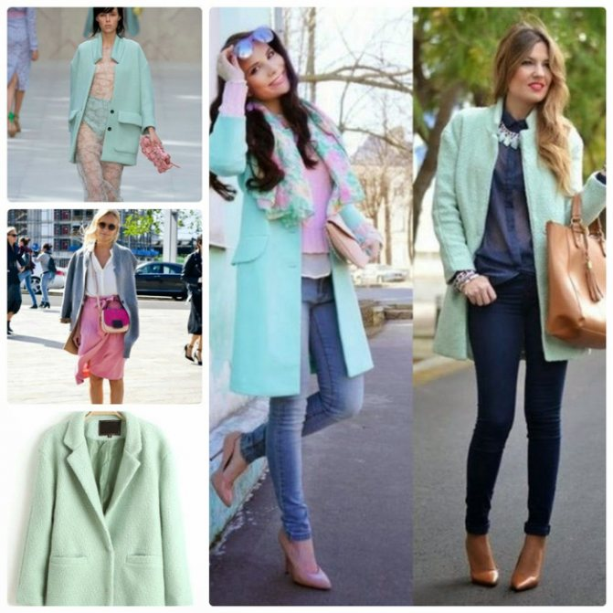 С чем носить пальто цвета мяты? 1