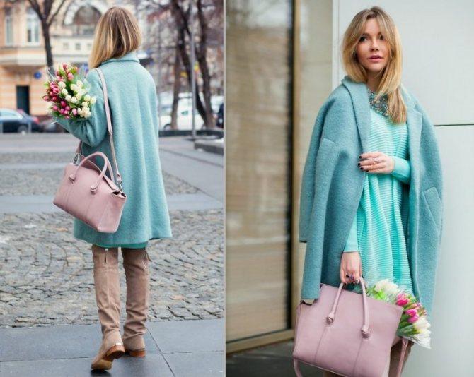 С чем носить пальто цвета мяты? сумка