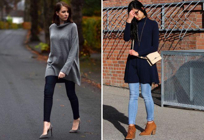 с чем носить платье свитер зимой