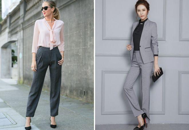 с чем носить женские серые классические брюки