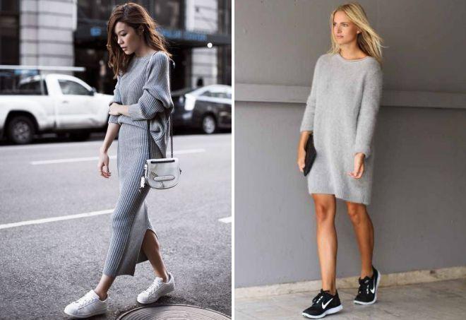 с какой обувью носить платье свитер