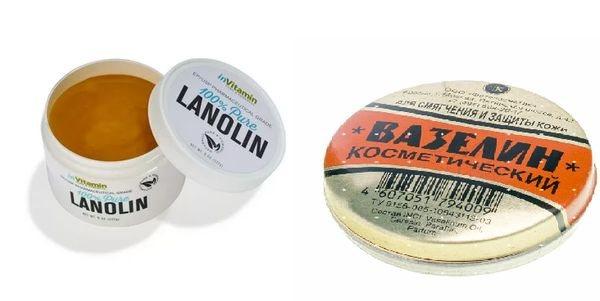 С ланолином и вазелином
