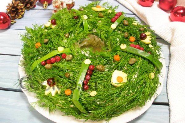 салат рождественский венок на новый год 2017