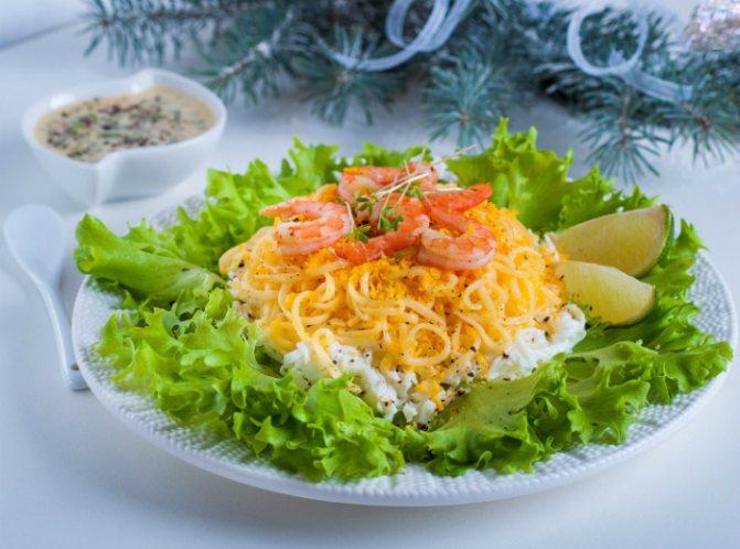 салат с креветками и сыром