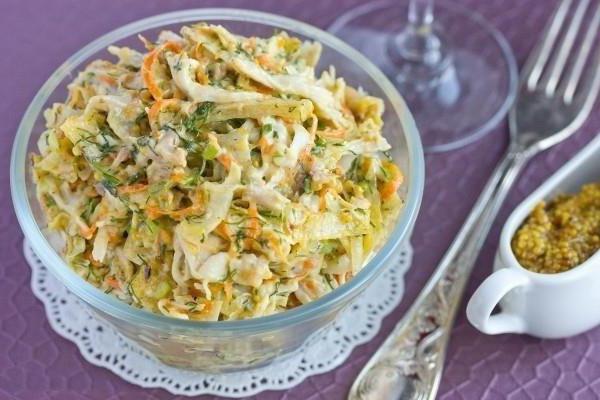 салат с омлетом и копченой курицей рецепт