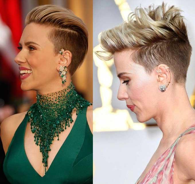 Scarlett Johansson - стрижка с выбритым затылком и висками