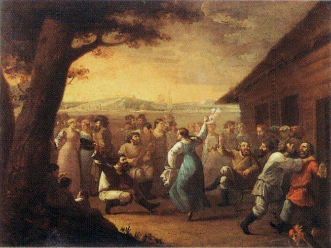 Сельский праздник. Художник И.М. Танков, 1790-е годы. Источник: wikipedia.org