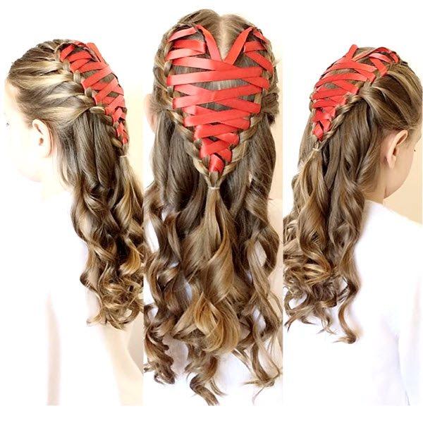 сердечко из волос с лентой