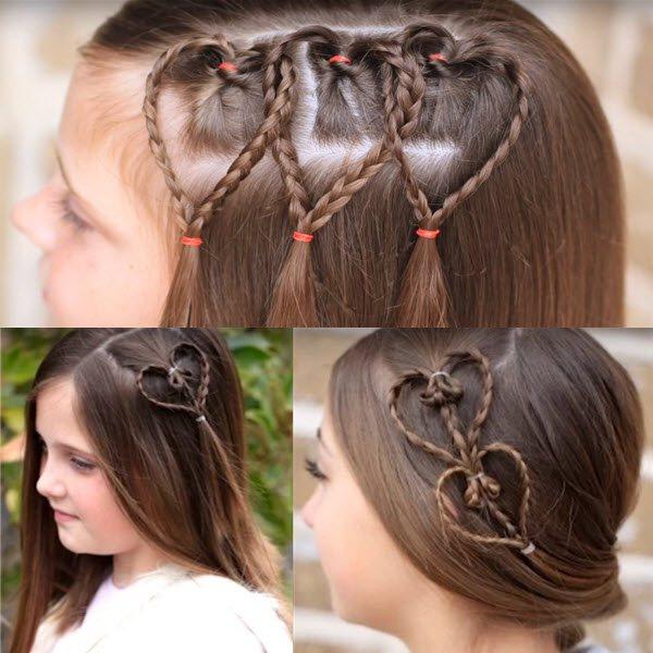 сердечко из волос украшаем прическу на день Валентина