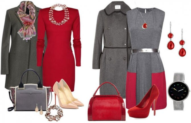 серый и красный цвет в одежде