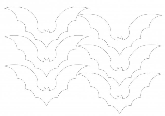 Шаблон на Хэллоуин летучие мыши