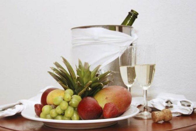 Шампанское и закуски