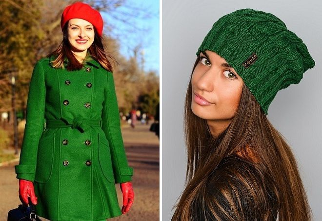 шапка к зеленому пальто