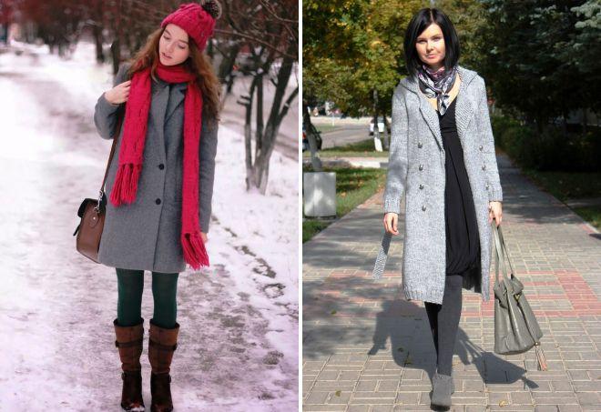 шарф под серое пальто