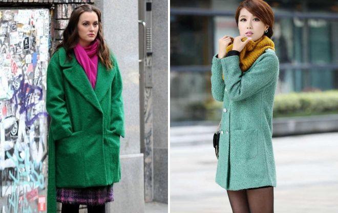 шарф под зеленое пальто