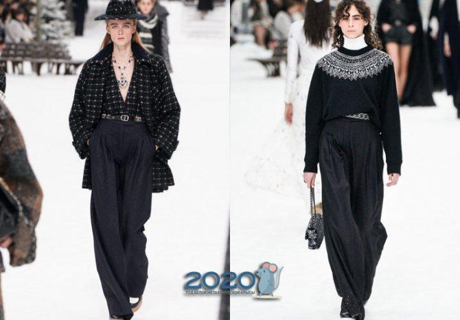 Широкие брюки Шанель сезона осень-зима 2019-2020