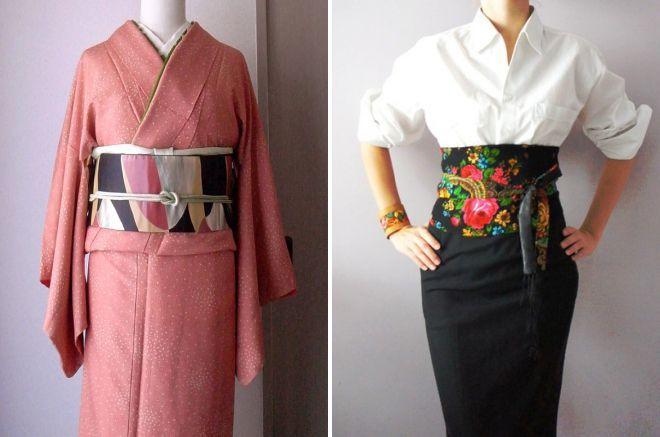 широкий пояс для кимоно