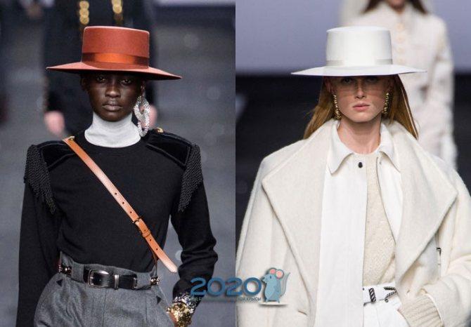 Широкополая шляпа на зиму 2019-2020