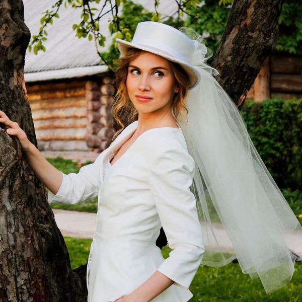 шляпка с фатой на свадьбу