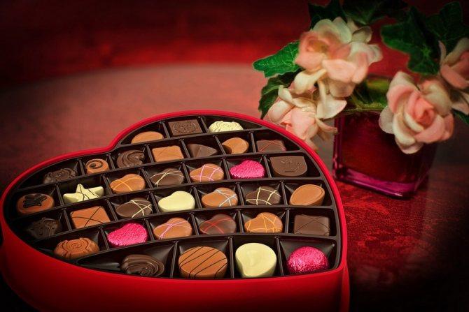 Шоколадные конфеты в зоне любви по фен-шуй