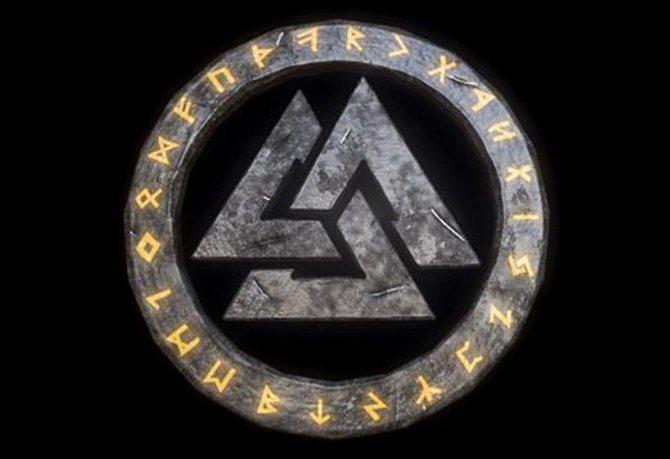 Символ Валькнут в руническом круге