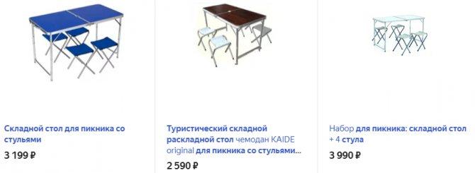 Складной стол со стульчиками