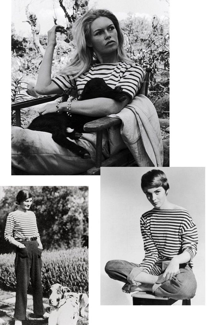 Слева направо: Коко Шанель, 1928 год; Брижит Бардо и Джин Сиберг