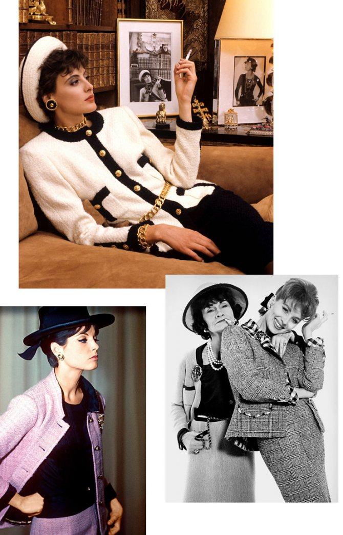 Слева направо: модель в классическом твидовом костюме Chanel, 1960 год; Инес де ля Фрессанж в апартаментах Chanel, 1981 год; Коко Шанель и Сьюзи Паркер, 1959 год