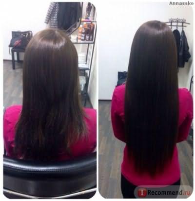Слева волосы окрашенные краской inoa 4 шатен, справа нарощенные через неделю после окрашивания
