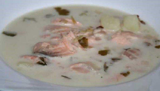 Сливочный суп из голов и хребта горбуши – Уха по-фински со сливками